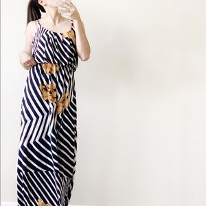 Naïf striped Navy Blue Maxi Dress XL